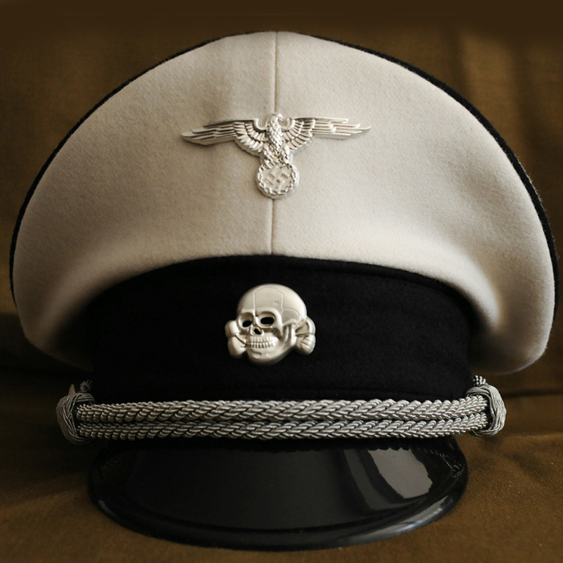 WW2 German Rank Colonel White SS Crusher Hat With Metal Badges