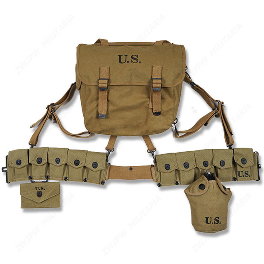 WW2 US SOLDIER EQUIPMENT FULL SET COLLECTION M36 HAVERSACK 10 CELLS BELT CANTEEN