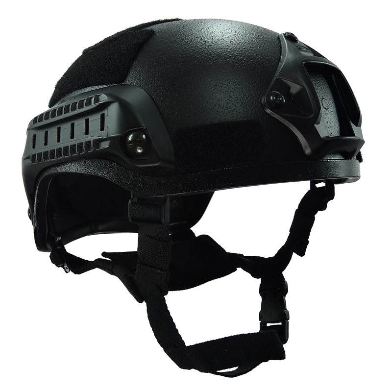 Black MICH 2001 Airsoft Helmet Tactical Outdoor with Rail