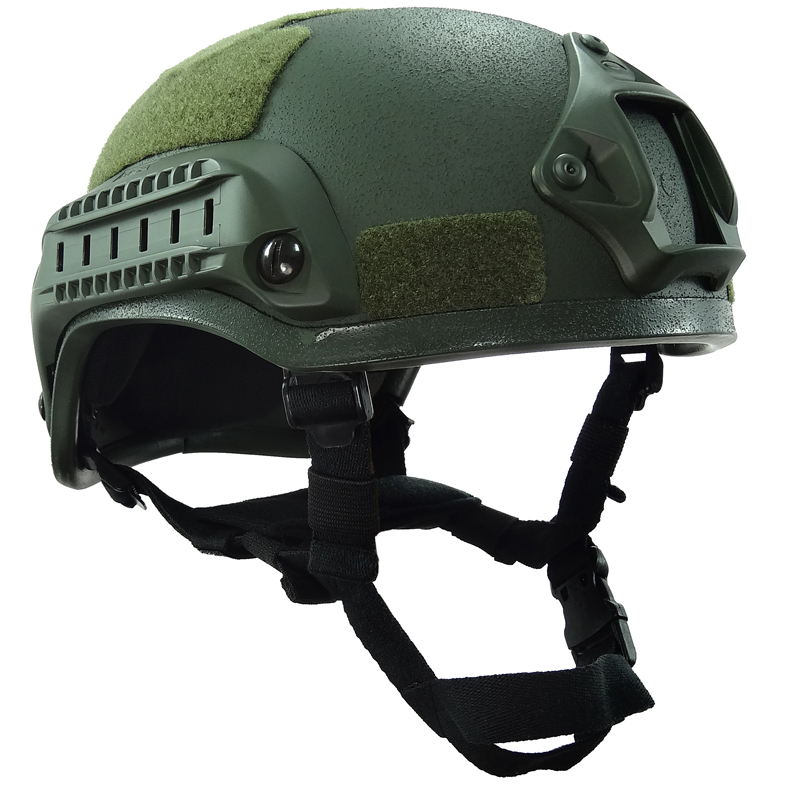 MICH 2001 Green Airsoft Helmet Tactical Outdoor with Rail