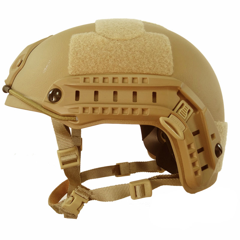 Khaki Tactical Fast Helmet MH Version Bump Jump Shroud Side Rail