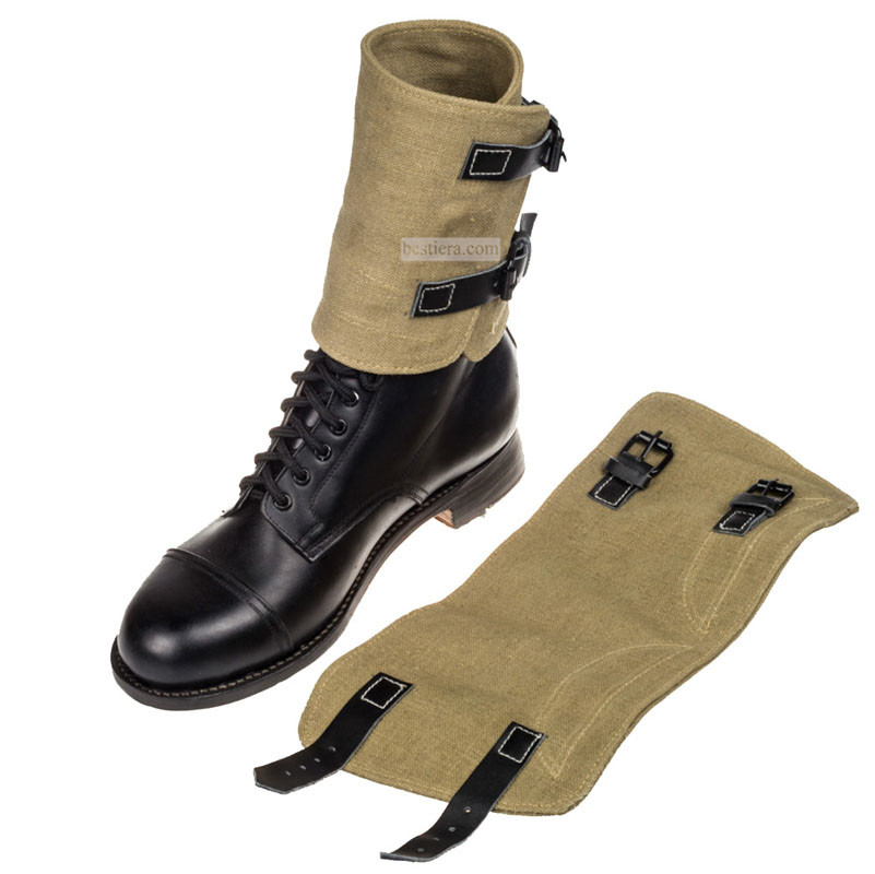 WWII GERMAN ARMY GAITERS M1938 CANVAS BUTTON LEGGING SPATS HAKI